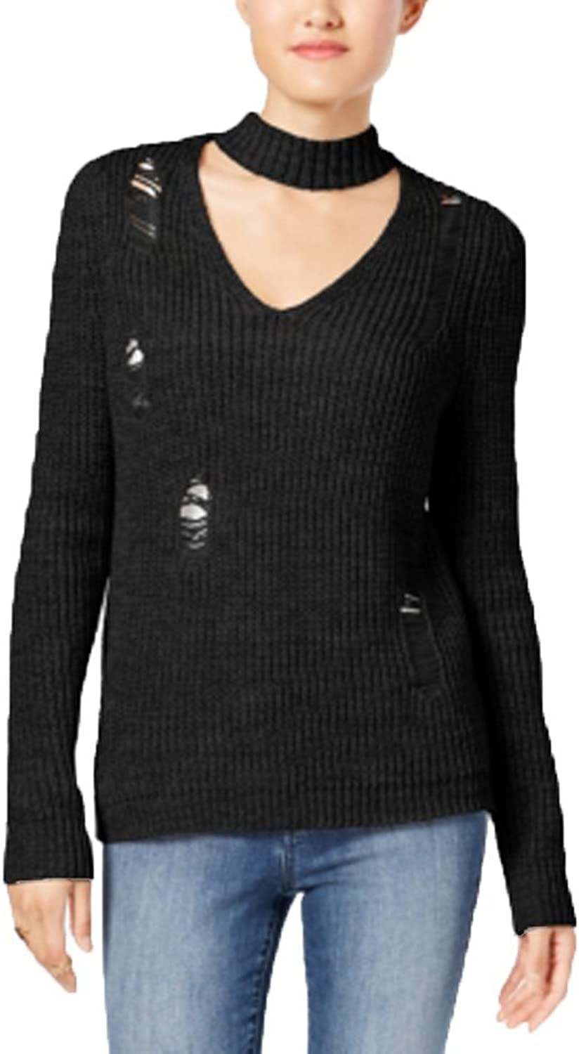 Almost Famous Crave Fame Juniors' Ripped Choker Sweater