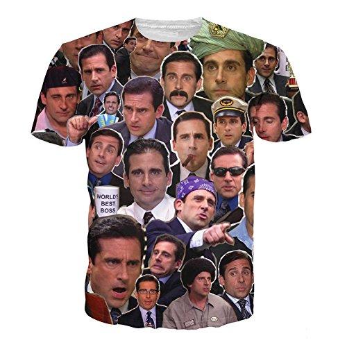T-Shirt 3D Print Many Faces of Michael Scott Paparazzi Short Sleeves