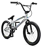 Mongoose Title Pro XXL BMX Race Bike, 20-Inch Wheels, Beginner to Intermediate Riders, Lightweight Aluminum Frame, Internal Cable Routing, Silver