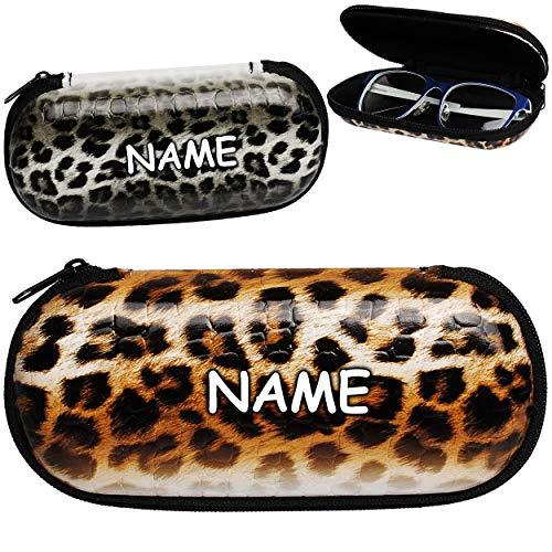 alles-meine.de GmbH 2 Stück _ Brillenetuis / Brillenboxen - Fell Muster / Tiger - Tier - inkl. Name - Hardcase / Hartschale - mit Reißverschluss - Flach klein - extrem stabil - E..