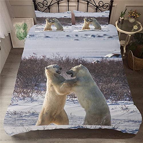 Dos osos polares Juego de cama en 3D Funda de almohada con impresión Funda de edredón Juego de ropa de cama Funda nórdica para el hogar Patrón de color rico suave y suave Hermoso y cómodo Sin