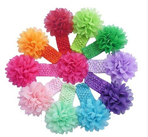 Pack 10 cintas para bebé con flor de gasa