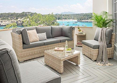 Destiny Lounge Loungegruppe Aruba Sitzgruppe Sofaset Faltdach Polyrattan - 10