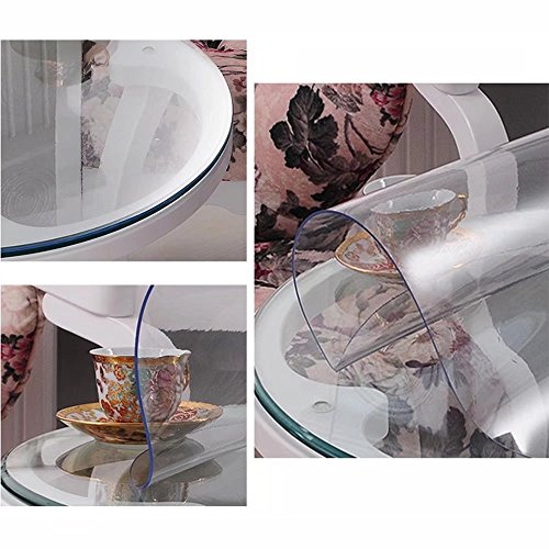 """ZANSHI Soft Glass Table Cover Round Clear Table Top Protector PVC Tablecloth Desk Mats Pads Transparent 23.5""""(60cm)"""