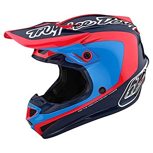 Troy Lee Designs Adulto Offroad Motocross SE4 Poliacrilite Corsa W/MIPS (Navy/Cyan, XL)