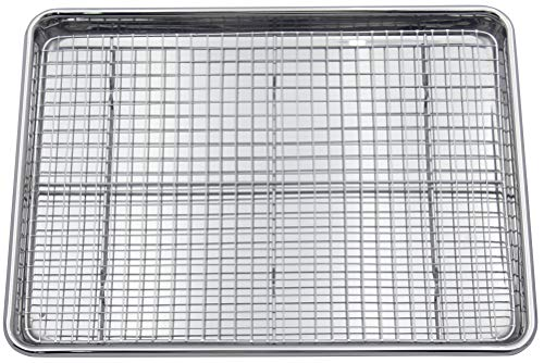 Checkered Chef Baking Sheet Set - Large Stainless Steel Half Pan for Baking w/ Oven Safe Cooling Rack