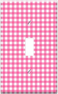 Switch Plate Single Toggle - Checks Checked Gingham Pink White Background
