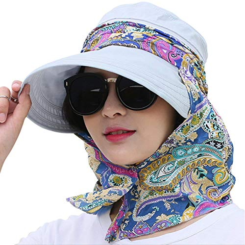 Kuyou Kuyou Sommer Strand Hat Damen Outdoor Sport Hut Anti-UV Sonnenhut (Hellblau)