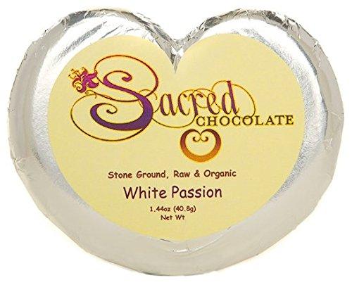 Sacred Chocolate WHITE PASSION ( DAIRY FREE ) Maple Sweetened, Stone-Ground, Organic Vegan RAW White Chocolate 1.44oz Bar (12 Pack)