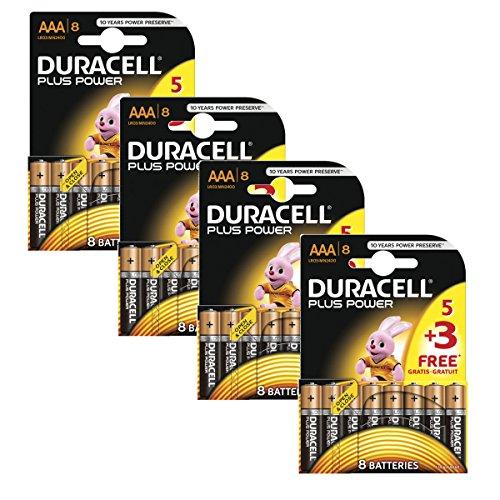 Duracell Plus Power MN2400 Alkaline AAA-Batterien, 32 Stück