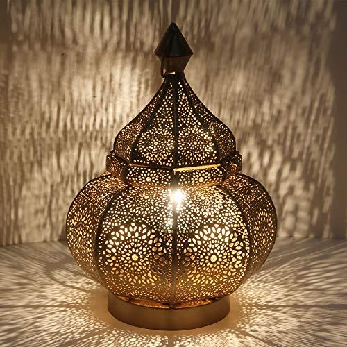 Licht-erlebnisse LN2090 - Lampada da tavolo orientale, stile marocchino, altezza 30 cm, in stile anticato e oro, attacco E27, in metallo