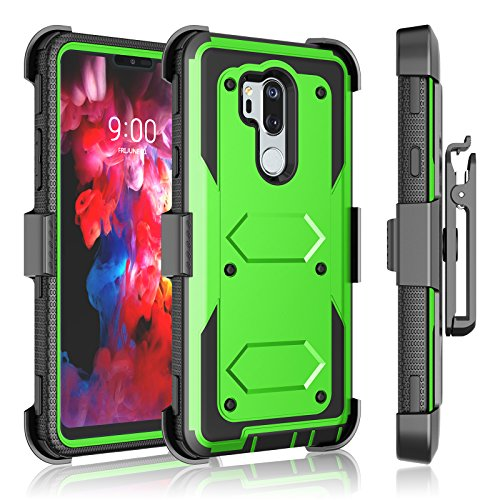 LG G7 ThinQ Case, 2018 LG G7 Holster Clip, Tekcoo [Tshell] [Built-in Screen] Shock Absorbing Secure Swivel Locking Belt Defender Full Body Kickstand Carrying Sturdy Armor Cases Cover [Green]