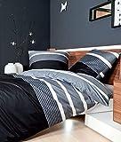 Janine Biancheria da letto in raso makò J. D. 8468, nero/argento, 200 x 200 + 2 x 40 x 80 cm