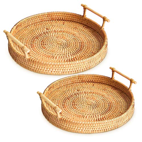 Rattan Round Serving Tray, 2 Size Hand-Woven Rattan Tray Serving Tray with Handles, Wicker Tray Basket Tray for Bread Fruit Food Coffee Breakfast Display