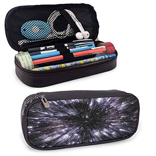 Galaxy Make-up Federmäppchen Speed of Life Raumfahrt Fantastic Galaxy Universe Science Fiction Futuristisch Schreibtisch Aufbewahrungsbox W3.5xL7.9 Schwarz Weiß