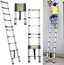 3.2m Telescopic Ladder Multi-Purpose Aluminum for Loft Home Capacity Max Load 150kg/330lb for Outdoor & Indoor Use 11 Steps Wight 9.2kg