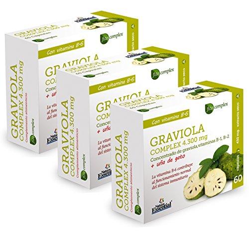 NATURE ESSENTIAL | Graviola (Complex) 4.300 mg | Con graviola, uña de gato, Vitamina B-1, Vitamina B-2 y Vitamina B-6-60 Capsulas (Pack 3 unid.)