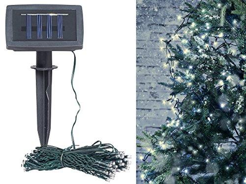 Lunartec Solar Lichterkette außen: Solar-LED-Lichterkette, 100 LEDs, Dämmerungssensor, warmw, 10 m, IP44 (Weihnachtsbeleuchtung Solar)