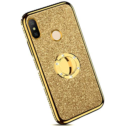 Ysimee Coque Compatible pour Xiaomi Mi 8 Paillette Glitter Silicone TPU Etui Con Support Bague Strass Bling Brillante Couleur Placage Gel Case pour Fille/Femme Anti Choc Ultra Mince Housse,Or