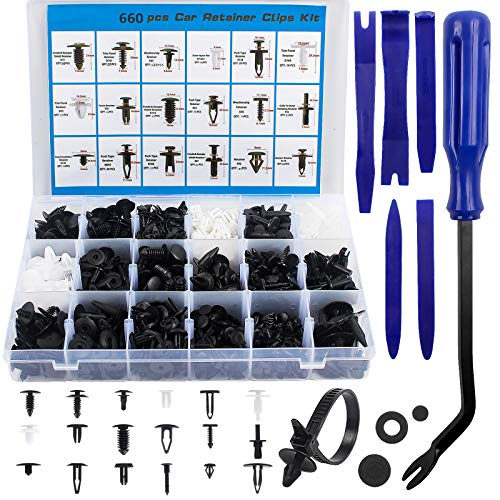 Befestigung Clips, 726 Stücke Universal Auto Clips, Plastikschrauben Werkzeuge Set, Türverkleidung & Kunststoff Zierleistenkeile Kit mit Demontage Werkzeuge, Schwammig...