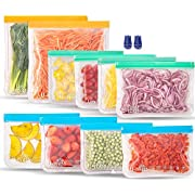 Reusable Storage Bags, BPA -Free & Freezer Bags, Leakproof Storage Bag for Food, Travel, Home Organization (10 Pack - 2 Gallon 4 Sandwich 4 lunch)