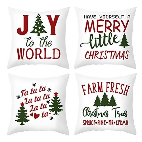 PRETYZOOM Funda de almohada de Navidad de 4 piezas, accesorio de almohada color al azar