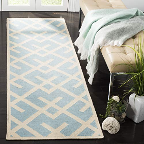 "Safavieh Dhurries Collection DHU552B Hand Woven Light Blue and Ivory Premium Wool Runner (2'6"" x 12')"
