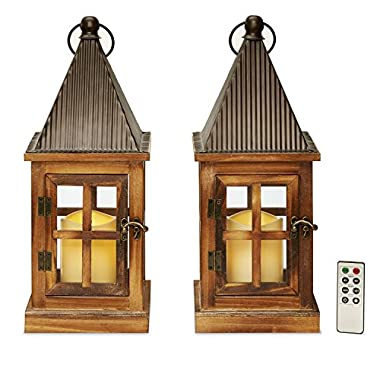 Flameless Tin & Wood Rustic Candle Lanterns, 15  Height, Warm White LEDs, Indoor/Outdoor Use, Water Resistant, Batteries & Remote Included - Set of 2