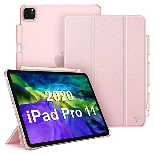 FINTIE Case for iPad Pro 11' 2020/2018 with Pencil Holder [Supports 2nd Gen Pencil Charging] - SlimShell Lightweight Translucent Frosted Stand Back Cover with Auto Wake/Sleep, Rose Gold