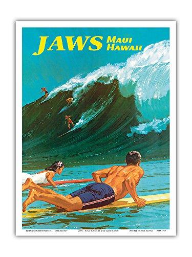 Pacifica Island Art Jaws–Viajes de Maui, Hawaii–Big Wave Surf–Vintage Hawaiian Póster por CHAS Allen...