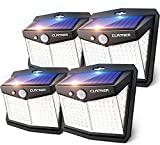 Claoner Solar Lights Outdoor, [128 LED/4 Packs] Solar Motion Sensor Lights 3 Working Modes Outdoor Lights with 270° Wide Angle Wireless IP65 Waterproof Solar Security Lights for Yard Garage Deck