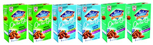 Blue Diamond Almonds 100 Calorie Packs - 3 VARIETY FLAVORS (Box of 42 / .6-Ounce Small Grab and Go bags).