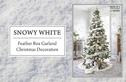 Wedding and Party Store Snowy White Feather Boa Garland Christmas Decoration - Pack of 3 x 1.5 Metres