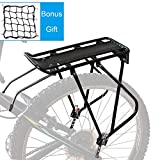 "9. Bike Cargo Rack w/Bungee Cargo Net & Reflective Logo Universal Adjustable Bicycle Rear Luggage Touring Carrier Racks 110lbs Capacity Quick Release Mountain Road Bike Pannier Rack for 26""-29"" Frames"