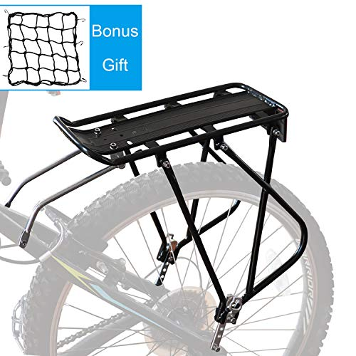 Bike Cargo Rack w/Bungee Cargo Net & Reflective Logo Universal Adjustable Bicycle Rear Luggage Touring Carrier Racks 110lbs Capacity Quick Release Mountain Road Bike Pannier Rack for 26'-29' Frames
