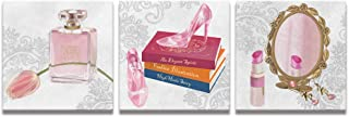 Welmeco Salon Fashion Canvas Wall Art Decor Premium Pink Makeup Collection Canvas Poster Glam Perfume Crystal High Heel Shoes on Books Lipstick Picture Illustration Gifts for Girl (12