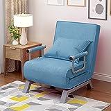 Sofá cama convertible con respaldo ajustable en 6 posiciones, sillón plegable con cojín acolchado, para el tiempo libre, para el hogar y la oficina (azul)