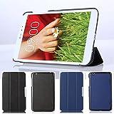 Für LG G Pad 8.3 V500 Hülle, HZSSEC Ultra Slim PU Leder Folio Hülle Hülle Standfunktion Tasche Schutzhülle Etui für LG G Pad 8.3 Zoll V500, Dunkelblau