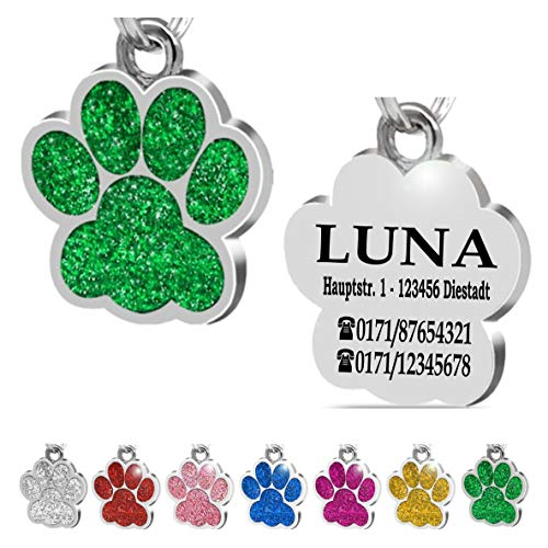 Iberiagifts - Hundemarke Pfote mit Gravur für kleine bis mittelgroße Hunde oder Katzen - Plakette graviert personalisiert (Grün)