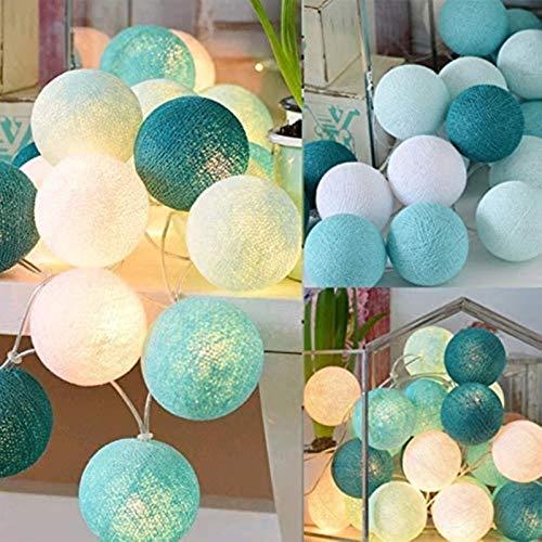 HYJMJJ Led Cotton Ball String Lights Fairy Lights Outdoor Decoration Holiday Garland Christmas Globe Lighting Chain 20 LEDs Dry Battery Tiffany