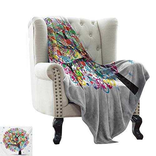 Manta blanca árbol de la vida, árbol mágico colorido con líneas y hojas de corazón, arte de celebración de la vida, manta de franela multicolor de lujo para cama (ligera, súper suave) 60 x 62 pulgadas