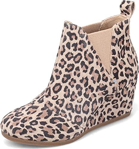 TOMS Desert Tan Leopard Suede Kelsy Bootie 10014153 (Size: 7)