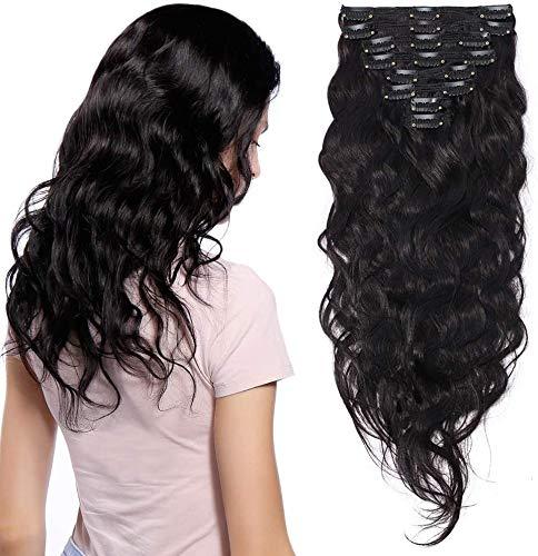 Elailite Extension Capelli Veri Clip Ricci Volumizzante 8 Ciocche Remy Human Hair Mossi Extensions Folte Double Weft Full Head 50cm 150g - #1B Nero Naturale