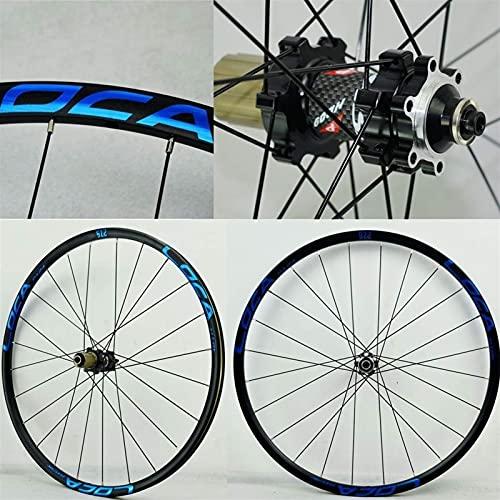 GAXQFEI 26 27.5 29 en Bike Wheelset Doble Wall Rim 6-Nail Disc Freno Relojamiento Rápido para 8 9 10 11 12 Cassette de Velocidad Rueda de Bicicleta Freewheel,Etiqueta Azul Del Hub Negro,27.5 en