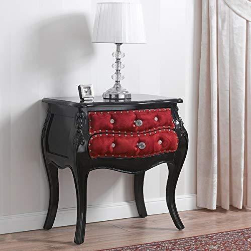 SIMONE GUARRACINO LUXURY DESIGN Table de Chevet bombé Brilliant Style Baroque Darko Noir laqué Velours Bordeaux Boutons et poignées Crystal SW