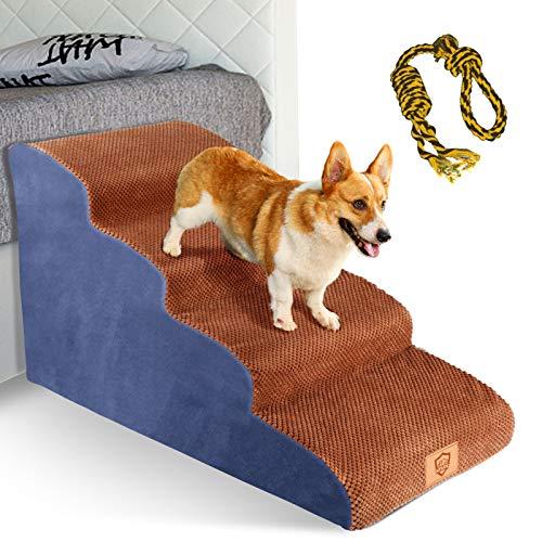 Topmart High Density Foam Dog Steps 4 Tiers,Extra Wide Deep Pet Steps,Non-Slip Pet Stairs,Dog Ramp for Bed,Soft Foam Dog Ladder,Best for Older Dogs...