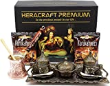 HeraCraft Premium Turkish Greek Arabic Coffee & Espresso Making Serving Gift Set with Copper Pot Coffee Maker, Cups Saucers, Tray, Sugar Bowl,Spoons & 2x 3.5 Oz Coffee.17 Pieces (antique gold)