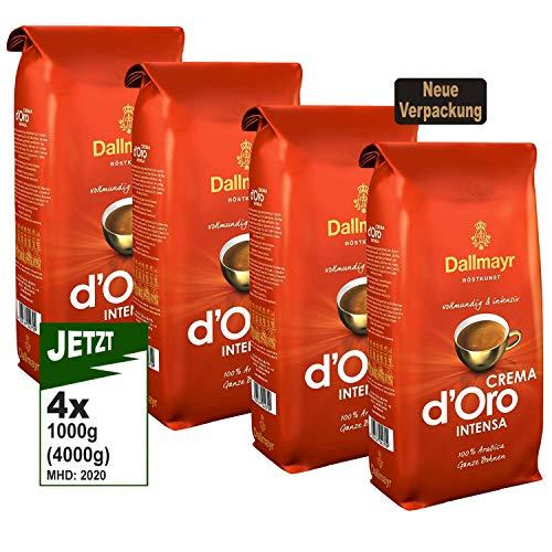 Dallmayr Crema d'Oro INTENSA Ganze Bohnen, 4x 1000g (4000g) - Kaffee von Dallmayr