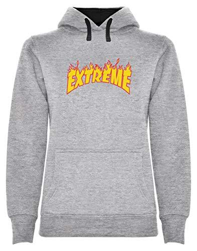 Skateboard Sweat Shirt - Warm Flame - Extreme Glisse Sweatshirt Capuche Femme Small Gris Chiné