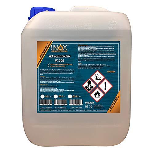INOX® IX 200 Waschbenzin, 10L - Reinigungsbenzin für Textilien und Oberflächen in Auto oder Werkstatt mit hoher Fett- und Schmutzlösekraft